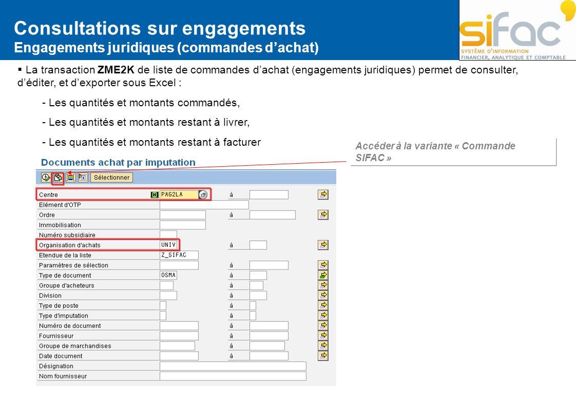 Consultations sur engagements Engagements juridiques (commandes dachat) La transaction ZME2K de liste de commandes dachat (engagements juridiques) per