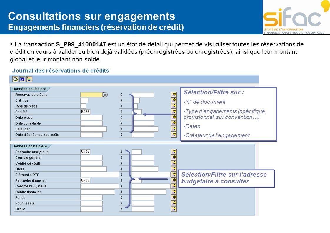 Consultations sur engagements Engagements financiers (réservation de crédit) La transaction S_P99_41000147 est un état de détail qui permet de visuali
