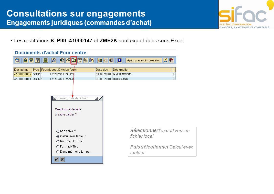 Consultations sur engagements Engagements juridiques (commandes dachat) Les restitutions S_P99_41000147 et ZME2K sont exportables sous Excel Sélection