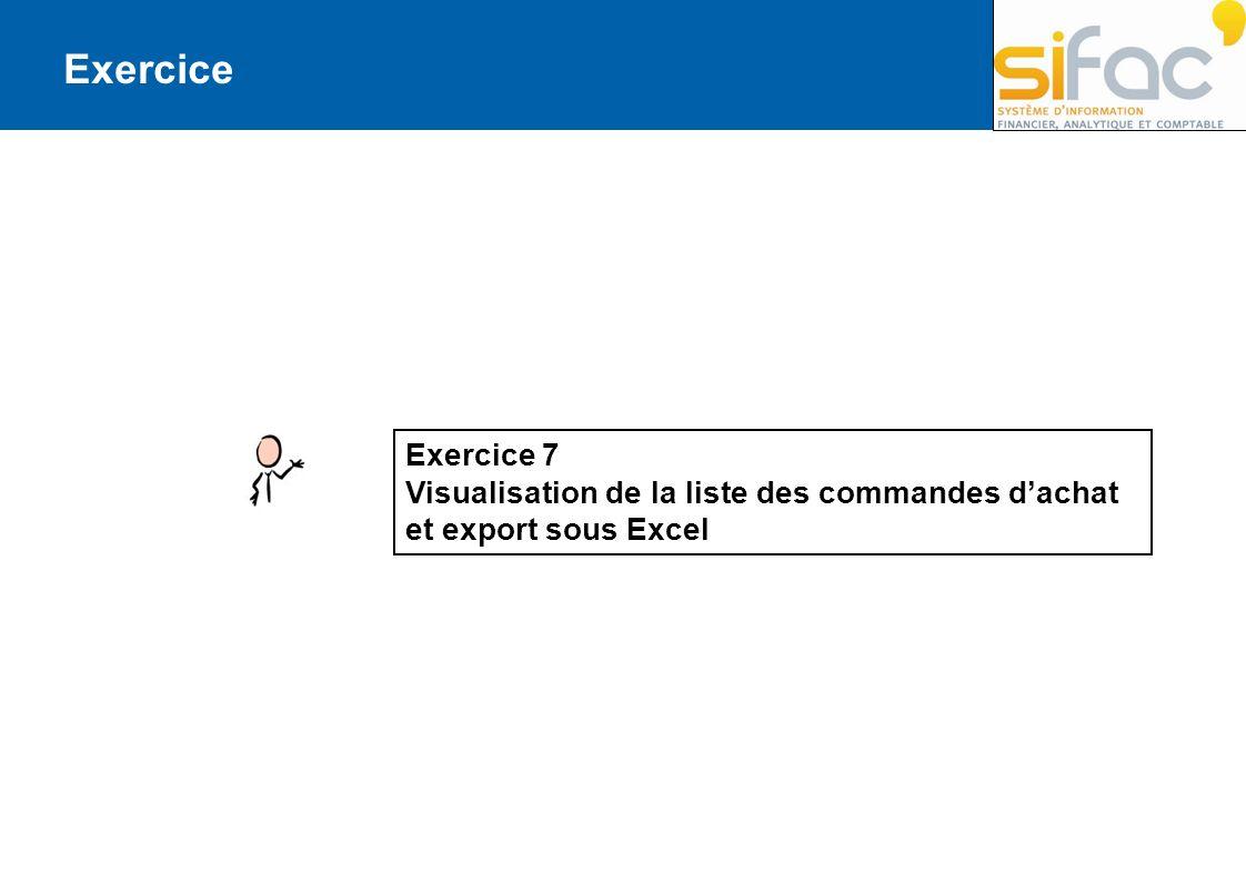 Exercice Exercice 7 Visualisation de la liste des commandes dachat et export sous Excel