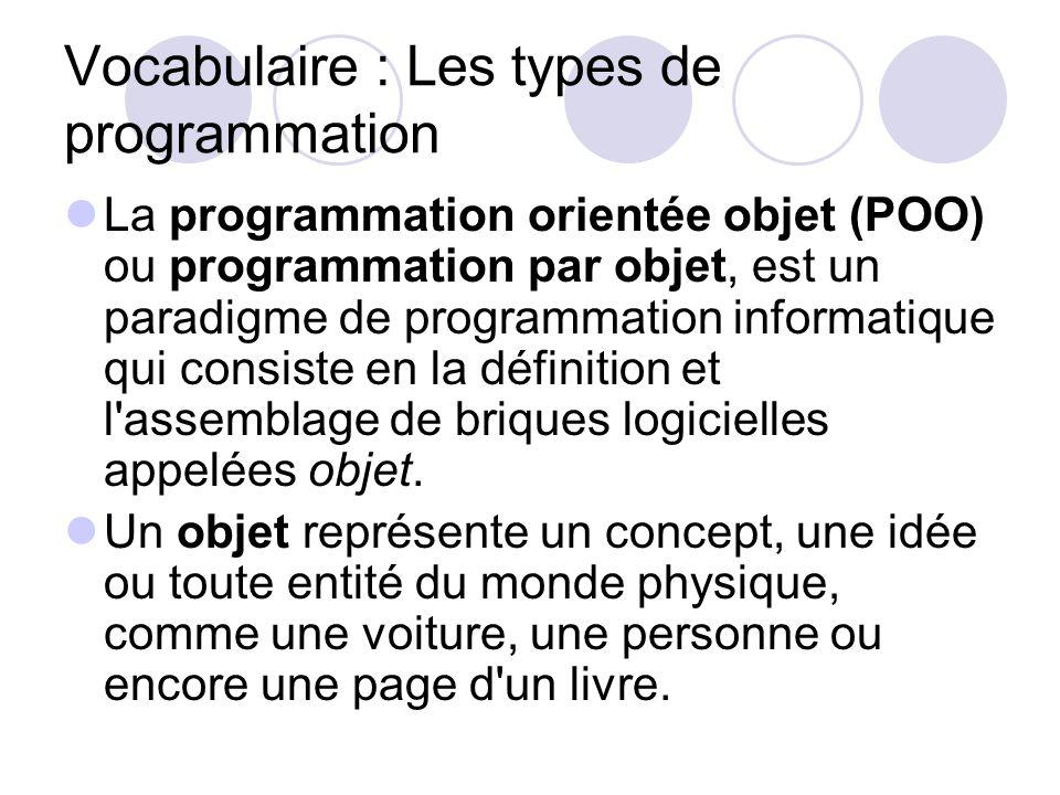 Vocabulaire : Les types de programmation La programmation orientée objet (POO) ou programmation par objet, est un paradigme de programmation informati