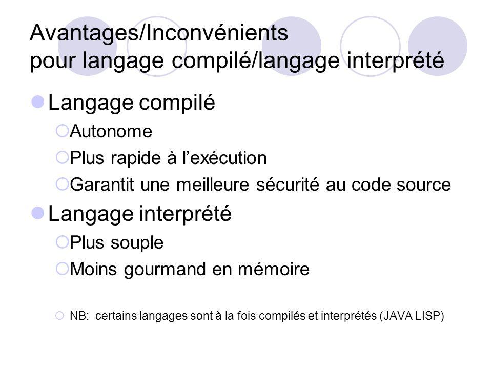Avantages/Inconvénients pour langage compilé/langage interprété Langage compilé Autonome Plus rapide à lexécution Garantit une meilleure sécurité au c