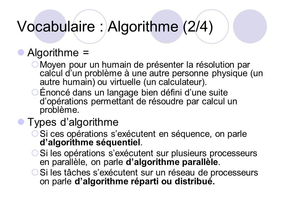 Vocabulaire : Algorithme (2/4) Algorithme = Moyen pour un humain de présenter la résolution par calcul dun problème à une autre personne physique (un