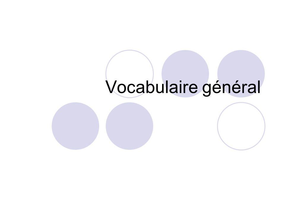 Vocabulaire général