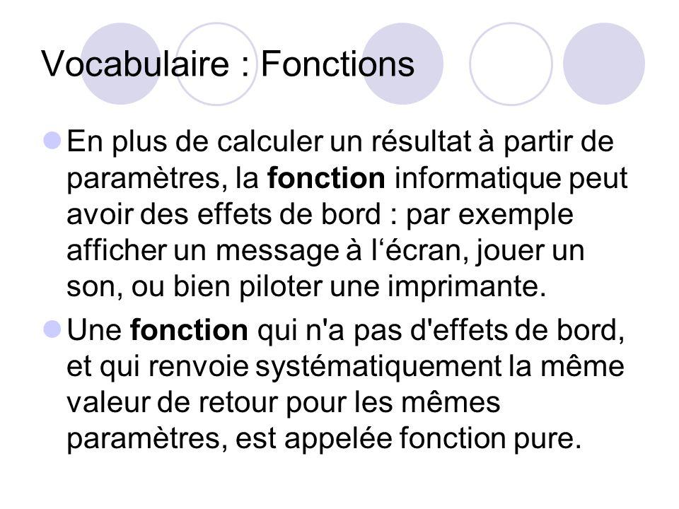 Vocabulaire : Fonctions En plus de calculer un résultat à partir de paramètres, la fonction informatique peut avoir des effets de bord : par exemple a