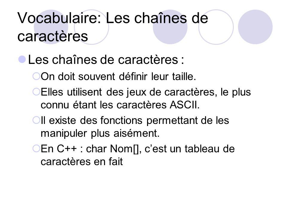 Vocabulaire: Les chaînes de caractères Les chaînes de caractères : On doit souvent définir leur taille. Elles utilisent des jeux de caractères, le plu