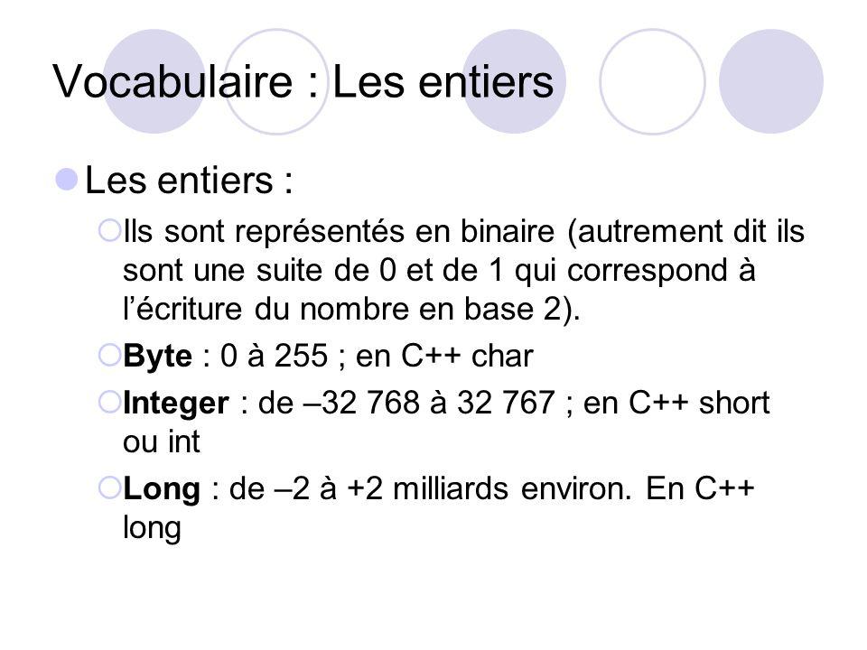 Vocabulaire : Les entiers Les entiers : Ils sont représentés en binaire (autrement dit ils sont une suite de 0 et de 1 qui correspond à lécriture du n