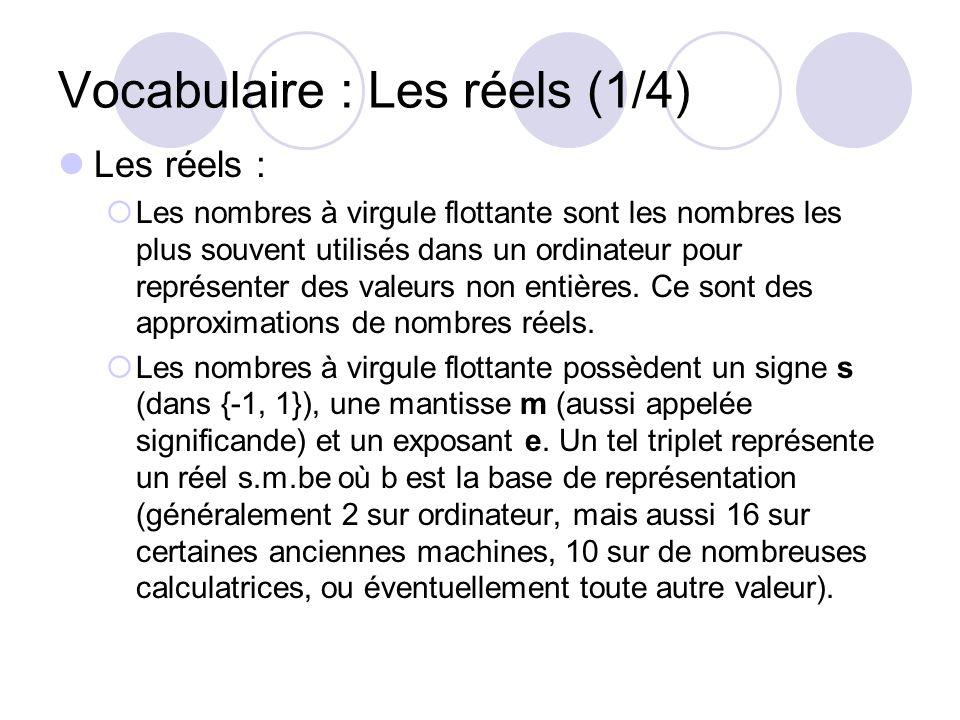 Vocabulaire : Les réels (1/4) Les réels : Les nombres à virgule flottante sont les nombres les plus souvent utilisés dans un ordinateur pour représent