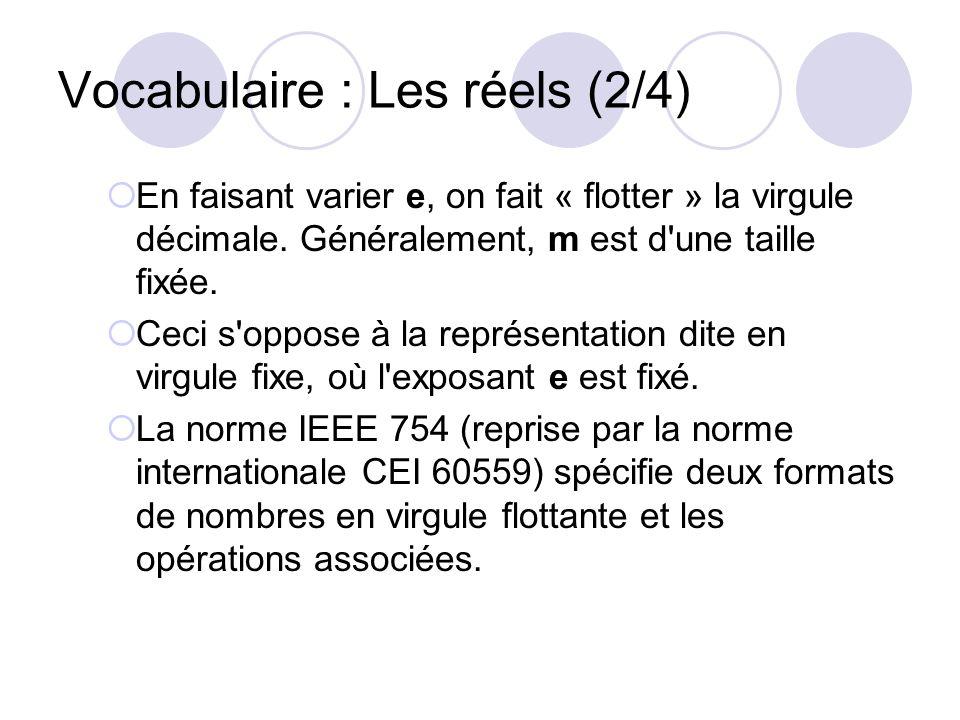 Vocabulaire : Les réels (2/4) En faisant varier e, on fait « flotter » la virgule décimale. Généralement, m est d'une taille fixée. Ceci s'oppose à la