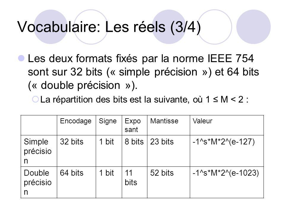 Vocabulaire: Les réels (3/4) Les deux formats fixés par la norme IEEE 754 sont sur 32 bits (« simple précision ») et 64 bits (« double précision »). L
