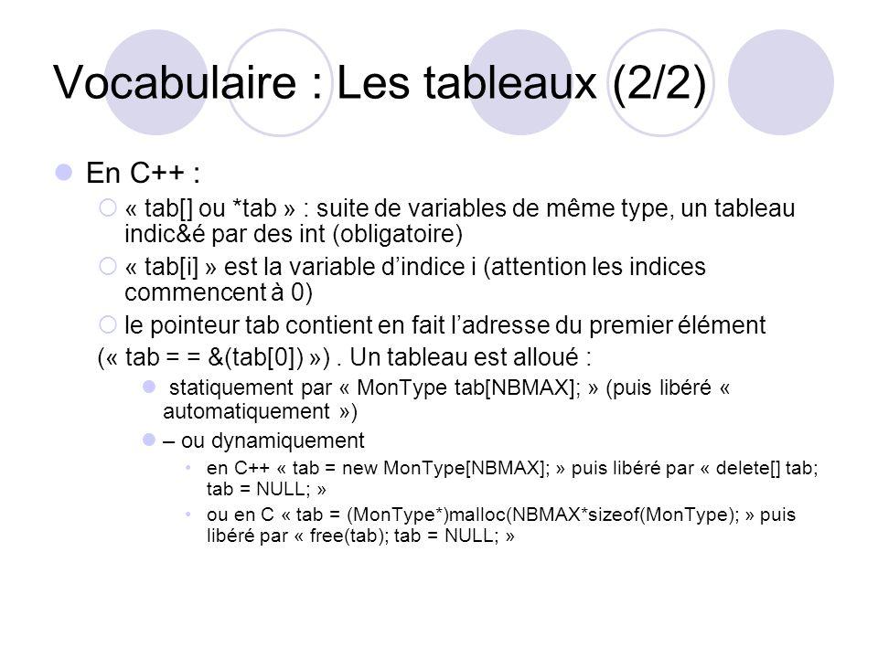 Vocabulaire : Les tableaux (2/2) En C++ : « tab[] ou *tab » : suite de variables de même type, un tableau indic&é par des int (obligatoire) « tab[i] »