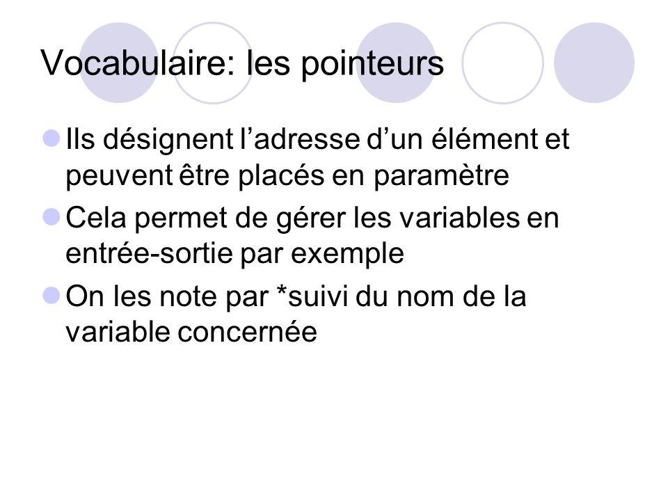 Vocabulaire: les pointeurs Ils désignent ladresse dun élément et peuvent être placés en paramètre Cela permet de gérer les variables en entrée-sortie