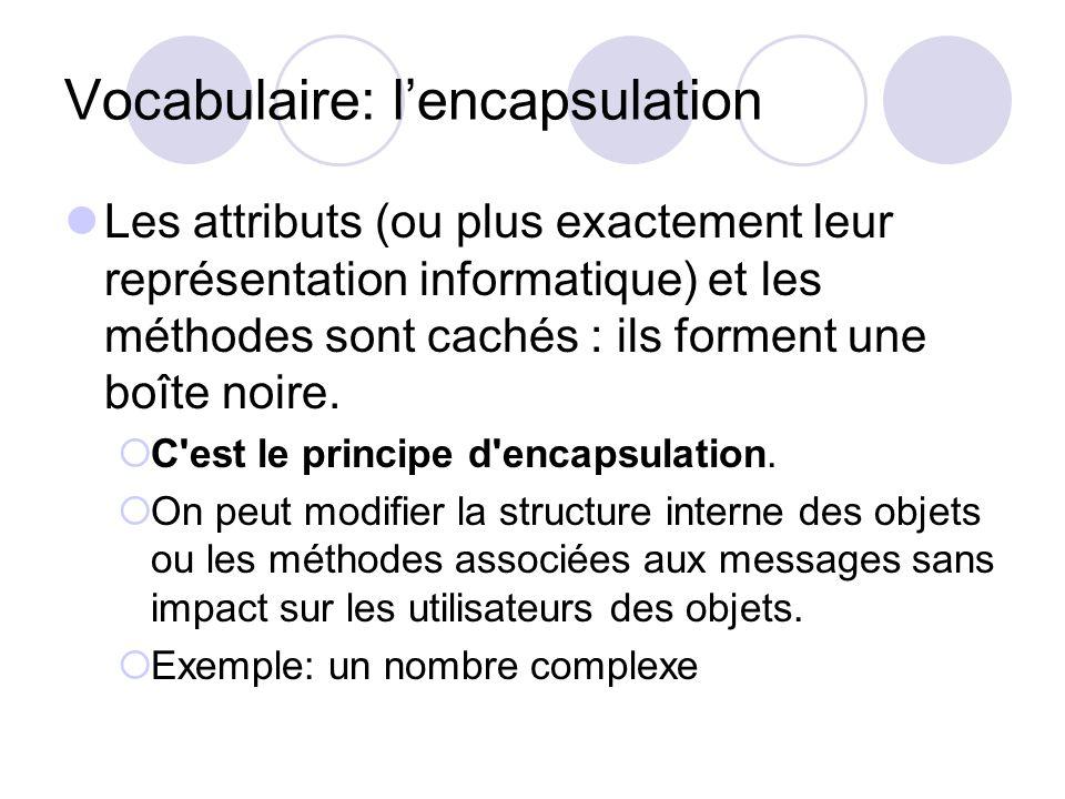Vocabulaire: lencapsulation Les attributs (ou plus exactement leur représentation informatique) et les méthodes sont cachés : ils forment une boîte no