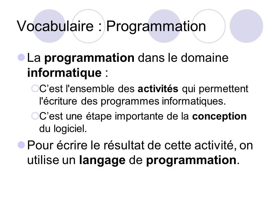 Vocabulaire : Programmation La programmation dans le domaine informatique : Cest l'ensemble des activités qui permettent l'écriture des programmes inf