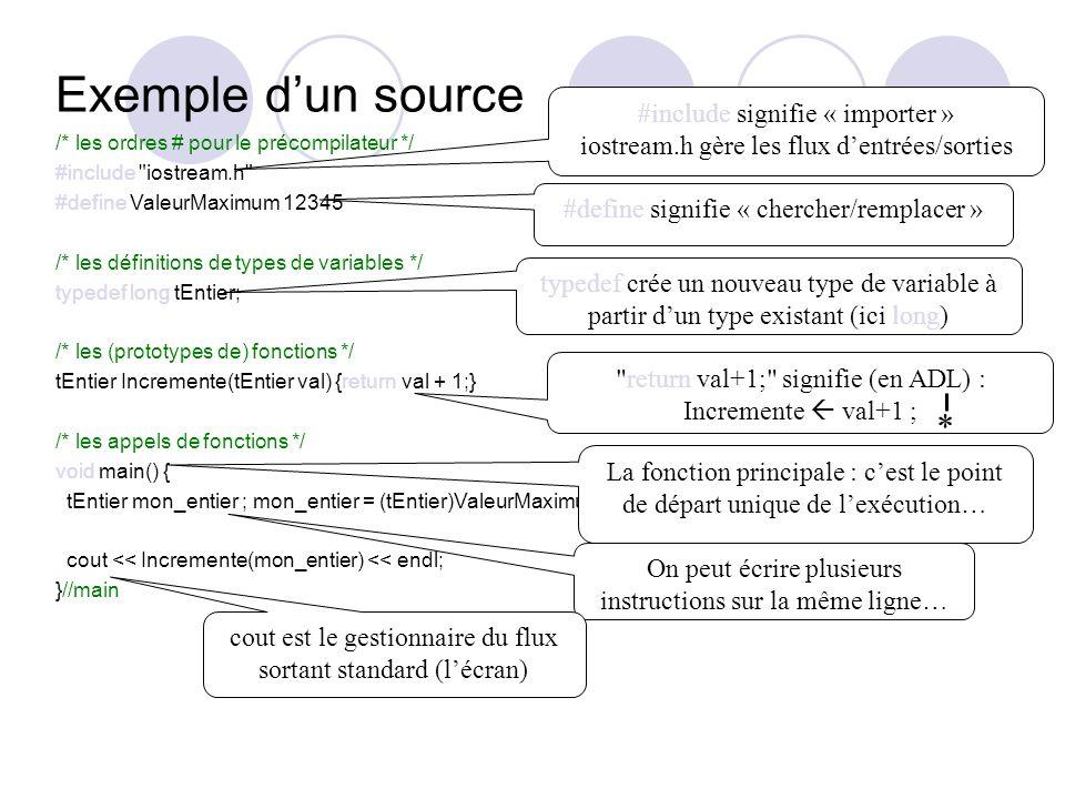 /* les ordres # pour le précompilateur */ #include