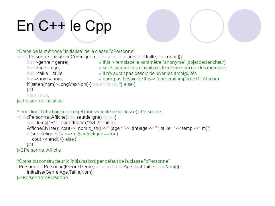 En C++ le Cpp //Corps de la méthode