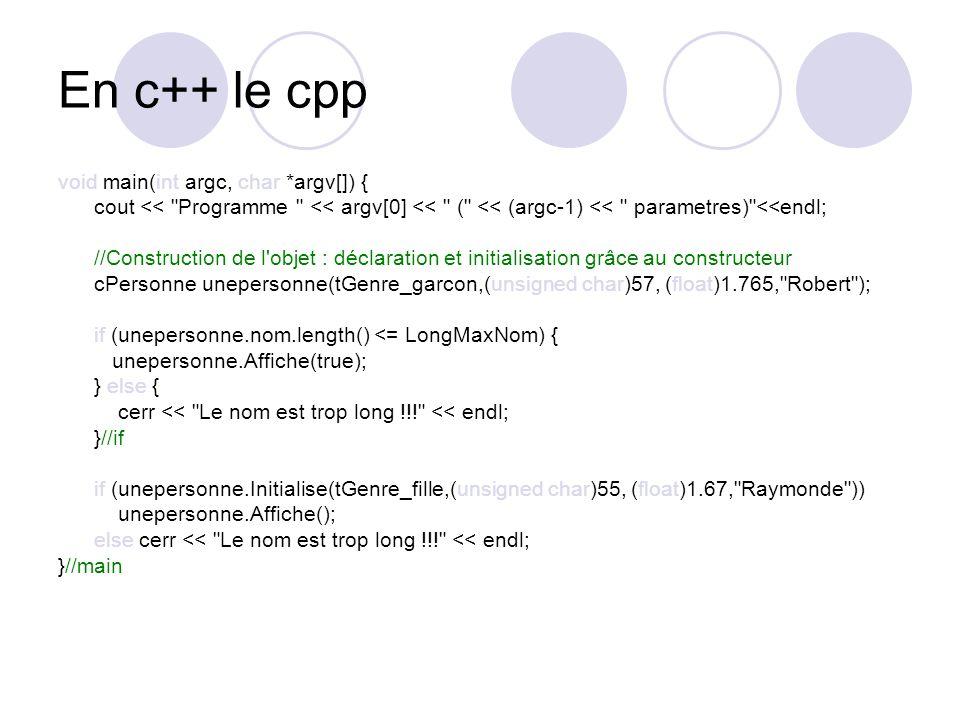 En c++ le cpp void main(int argc, char *argv[]) { cout <<