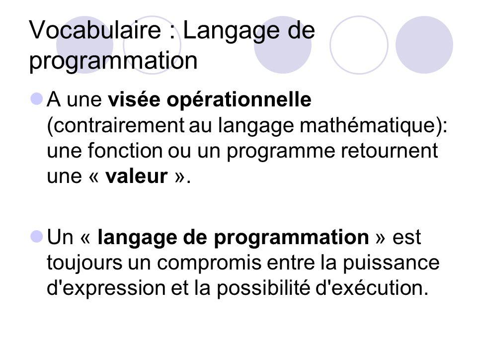 Vocabulaire : Langage de programmation A une visée opérationnelle (contrairement au langage mathématique): une fonction ou un programme retournent une