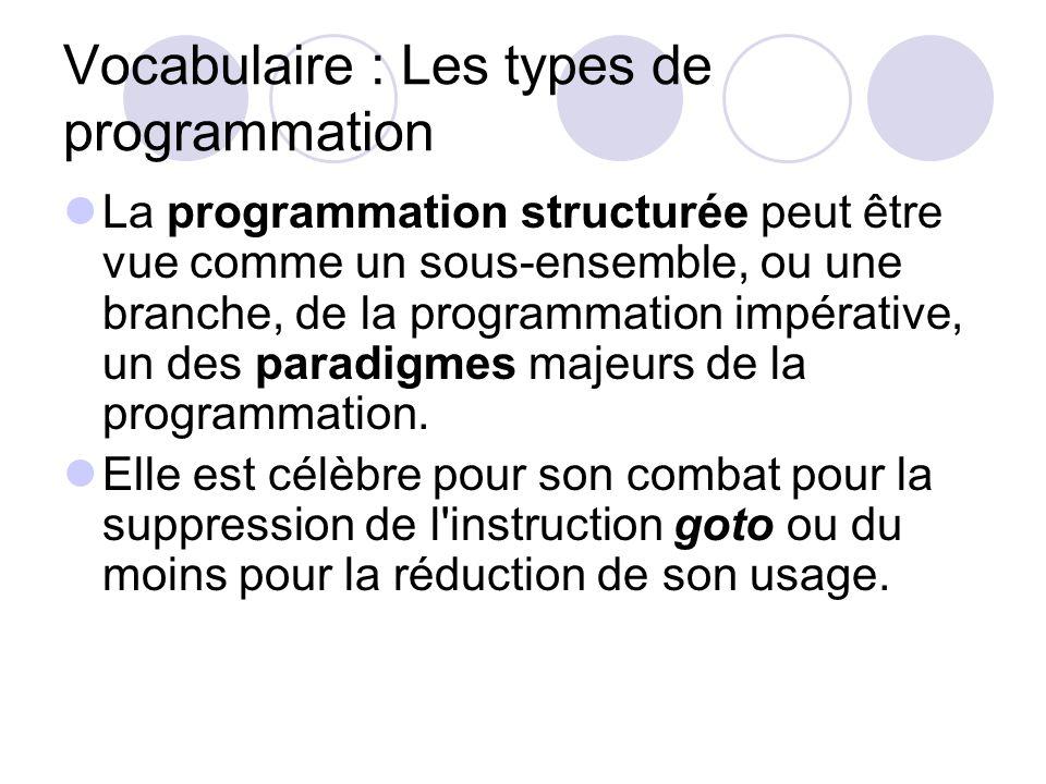 Vocabulaire : Les types de programmation La programmation structurée peut être vue comme un sous-ensemble, ou une branche, de la programmation impérat