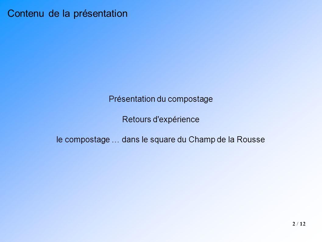 2 / 12 Présentation du compostage Retours d'expérience le compostage … dans le square du Champ de la Rousse Contenu de la présentation