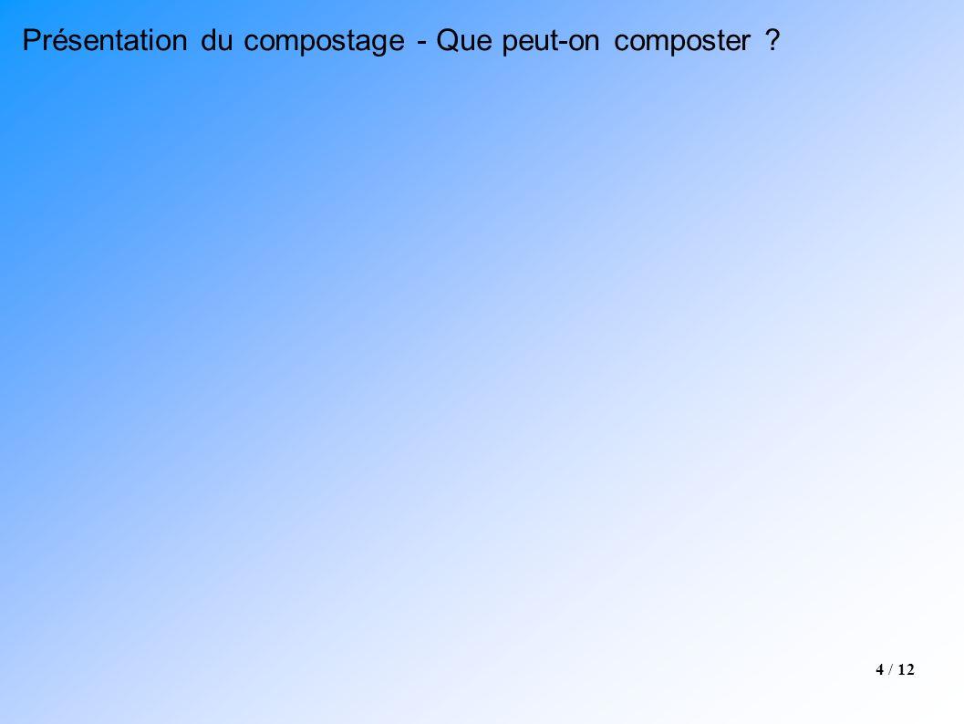 4 / 12 Présentation du compostage - Que peut-on composter ?