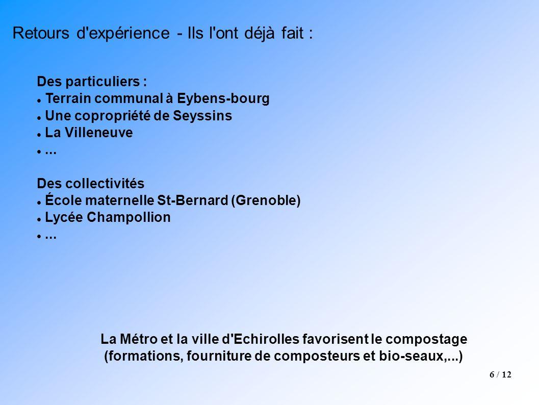 6 / 12 Des particuliers : Terrain communal à Eybens-bourg Une copropriété de Seyssins La Villeneuve... Des collectivités École maternelle St-Bernard (