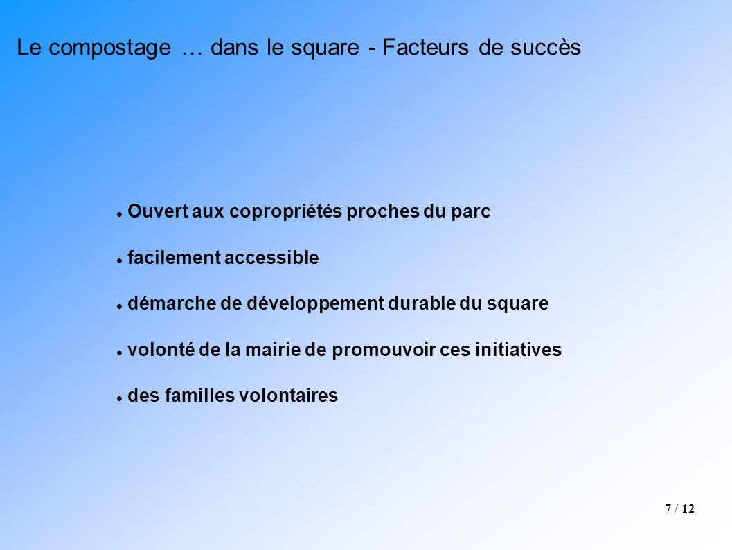 7 / 12 Le compostage … dans le square - Facteurs de succès Ouvert aux copropriétés proches du parc facilement accessible démarche de développement dur
