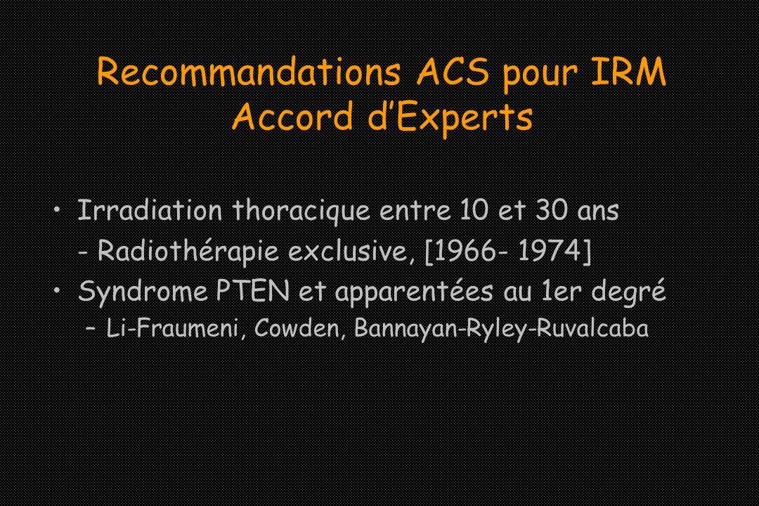 Recommandations ACS pour IRM Accord dExperts Irradiation thoracique entre 10 et 30 ans - Radiothérapie exclusive, [1966- 1974] Syndrome PTEN et appare