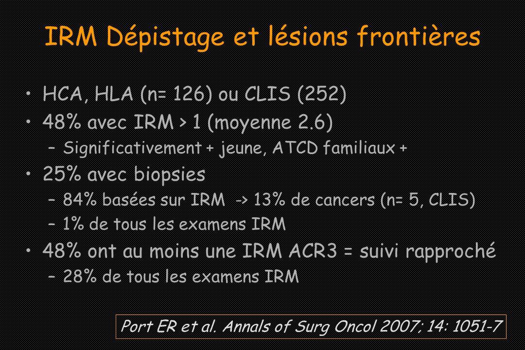 IRM Dépistage et lésions frontières HCA, HLA (n= 126) ou CLIS (252) 48% avec IRM > 1 (moyenne 2.6) –Significativement + jeune, ATCD familiaux + 25% av