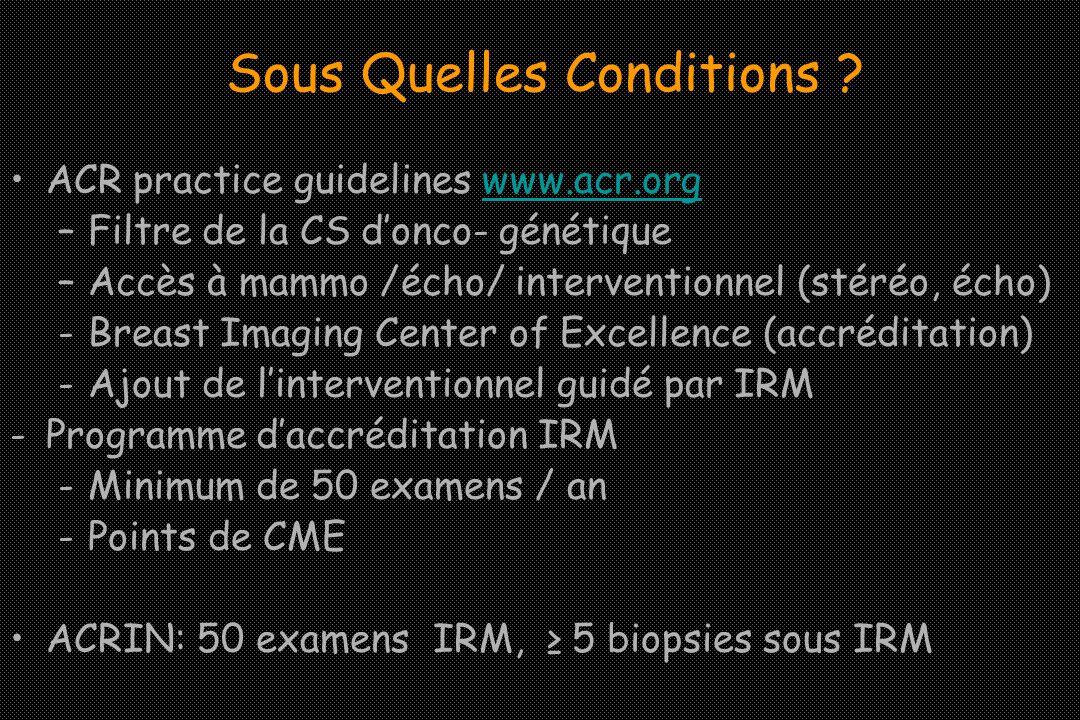 ACR practice guidelines www.acr.orgwww.acr.org –Filtre de la CS donco- génétique –Accès à mammo /écho/ interventionnel (stéréo, écho) -Breast Imaging