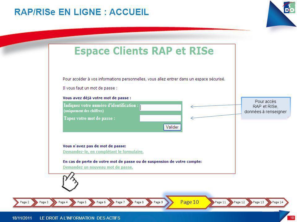 RAP/RISe EN LIGNE : ACCUEIL 10 18/11/2011LE DROIT A L'INFORMATION DES ACTIFS Pour accès RAP et RISe, données à renseigner Page 2Page 3Page 4Page 5Page