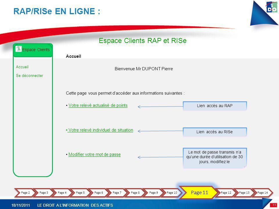 11 18/11/2011LE DROIT A L'INFORMATION DES ACTIFS RAP/RISe EN LIGNE : Accueil Bienvenue Mr DUPONT Pierre Cette page vous permet daccéder aux informatio