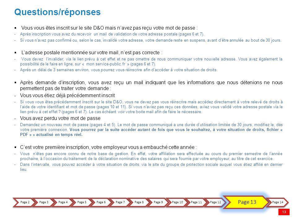 Questions/réponses Vous vous êtes inscrit sur le site D&O mais navez pas reçu votre mot de passe : -Après inscription vous avez du recevoir un mail de