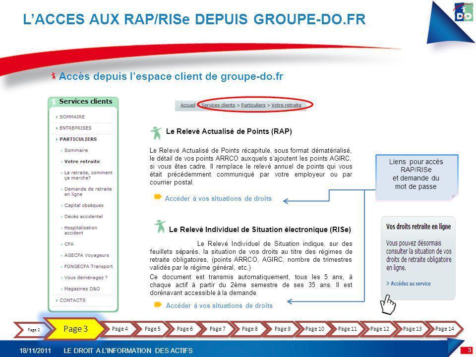 Accès depuis lespace client de groupe-do.fr LACCES AUX RAP/RISe DEPUIS GROUPE-DO.FR Le Relevé Actualisé de Points (RAP) Le Relevé Actualisé de Points