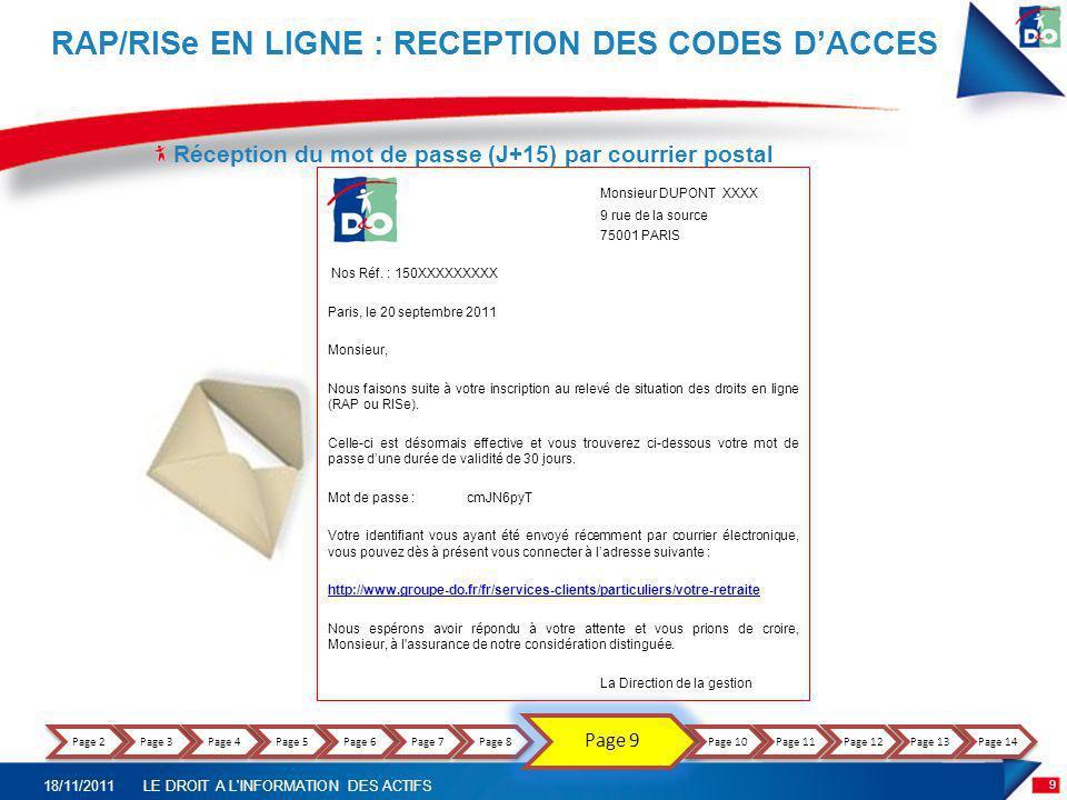 Réception du mot de passe (J+15) par courrier postal RAP/RISe EN LIGNE : RECEPTION DES CODES DACCES Monsieur DUPONT XXXX 9 rue de la source 75001 PARI