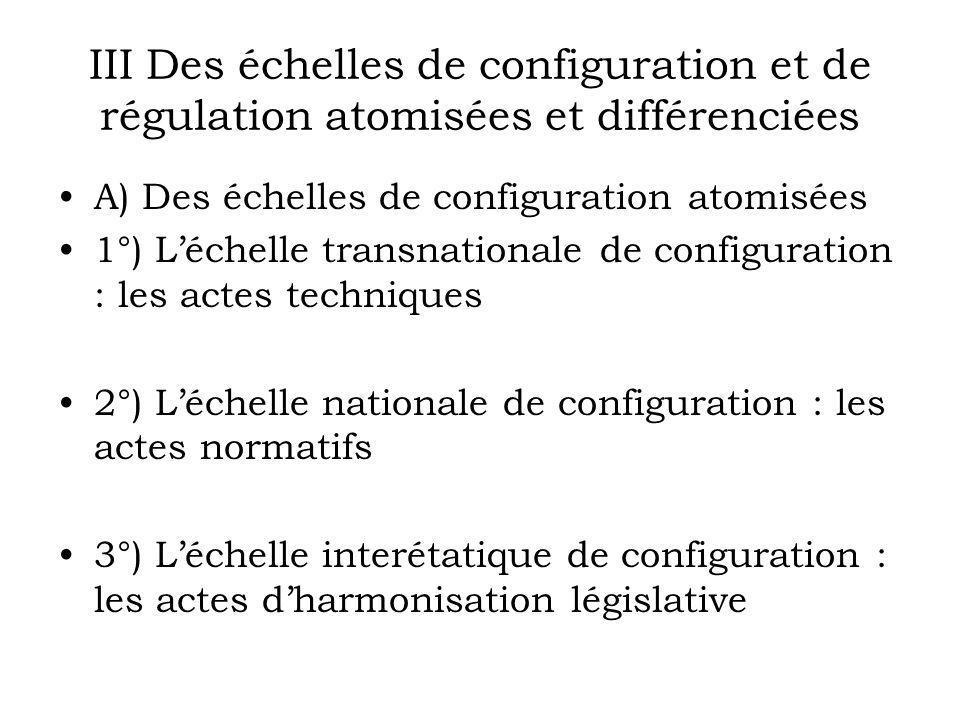 III Des échelles de configuration et de régulation atomisées et différenciées A) Des échelles de configuration atomisées 1°) Léchelle transnationale d