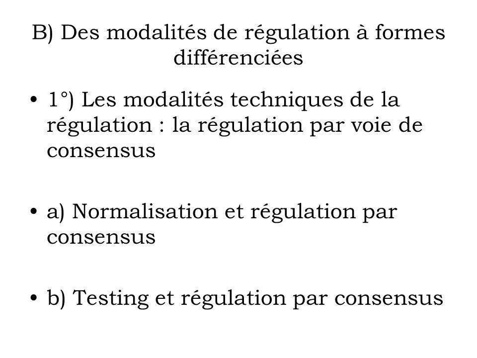 B) Des modalités de régulation à formes différenciées 1°) Les modalités techniques de la régulation : la régulation par voie de consensus a) Normalisa