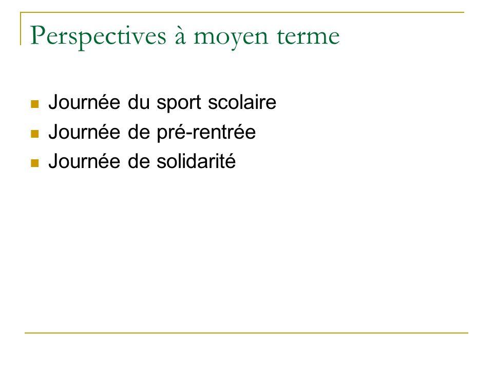 Perspectives à moyen terme Journée du sport scolaire Journée de pré-rentrée Journée de solidarité