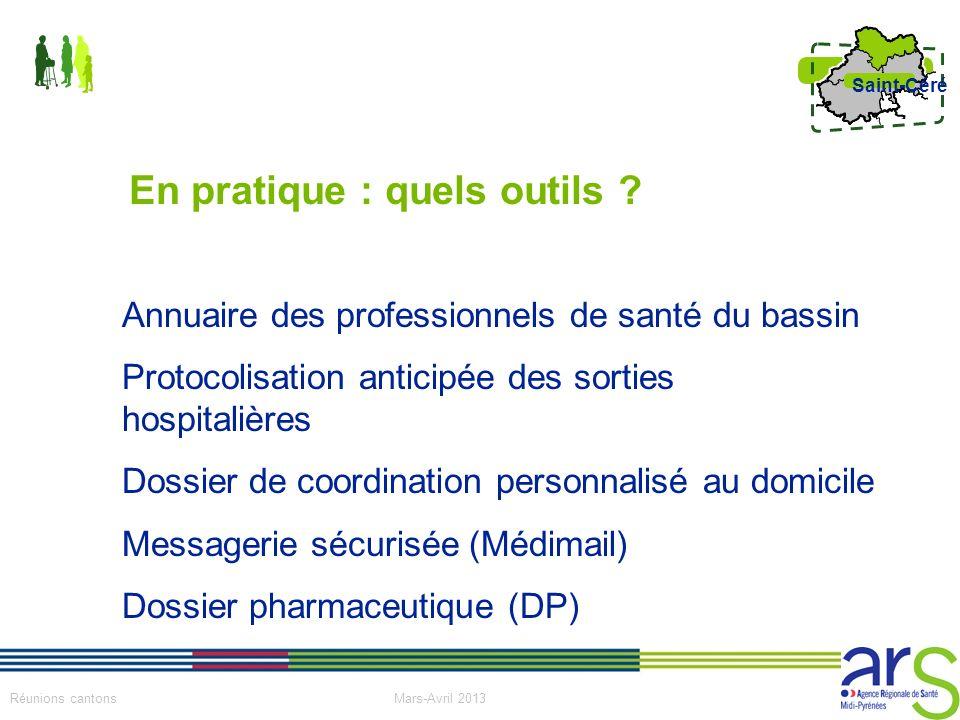 10 Réunions cantons Mars-Avril 2013 Saint-Céré Annuaire des professionnels de santé du bassin Protocolisation anticipée des sorties hospitalières Doss