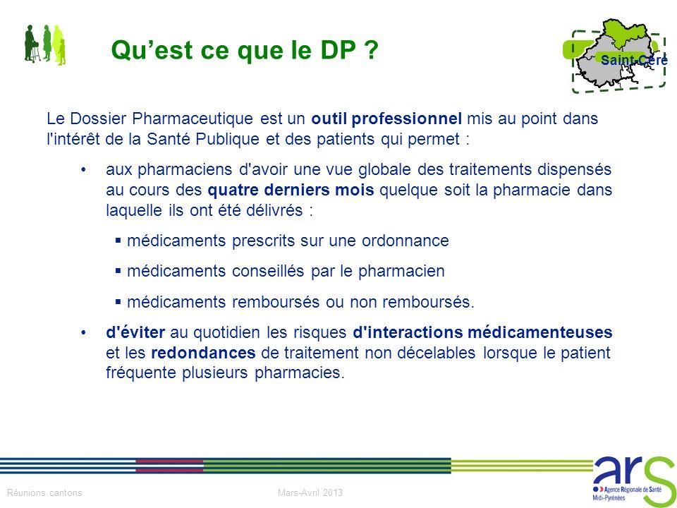 14 Réunions cantons Mars-Avril 2013 Saint-Céré Le Dossier Pharmaceutique est un outil professionnel mis au point dans l'intérêt de la Santé Publique e