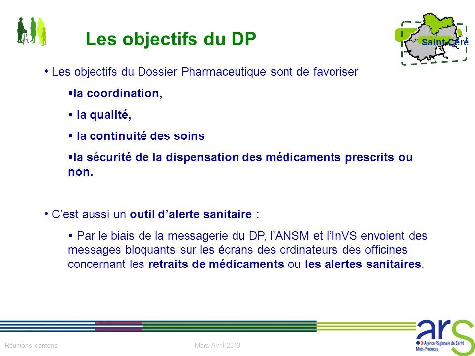 15 Réunions cantons Mars-Avril 2013 Saint-Céré Les objectifs du Dossier Pharmaceutique sont de favoriser la coordination, la qualité, la continuité de