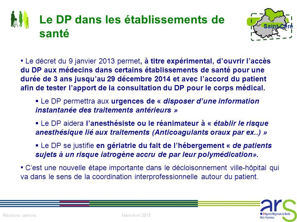 18 Réunions cantons Mars-Avril 2013 Saint-Céré Le décret du 9 janvier 2013 permet, à titre expérimental, douvrir laccès du DP aux médecins dans certai