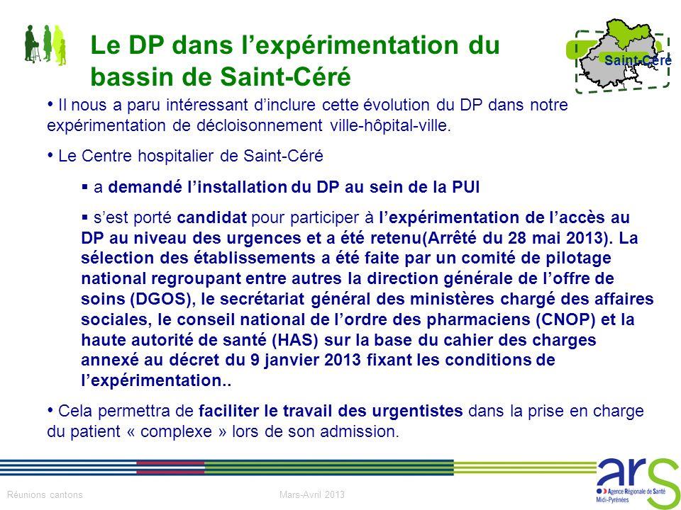 19 Réunions cantons Mars-Avril 2013 Saint-Céré Il nous a paru intéressant dinclure cette évolution du DP dans notre expérimentation de décloisonnement