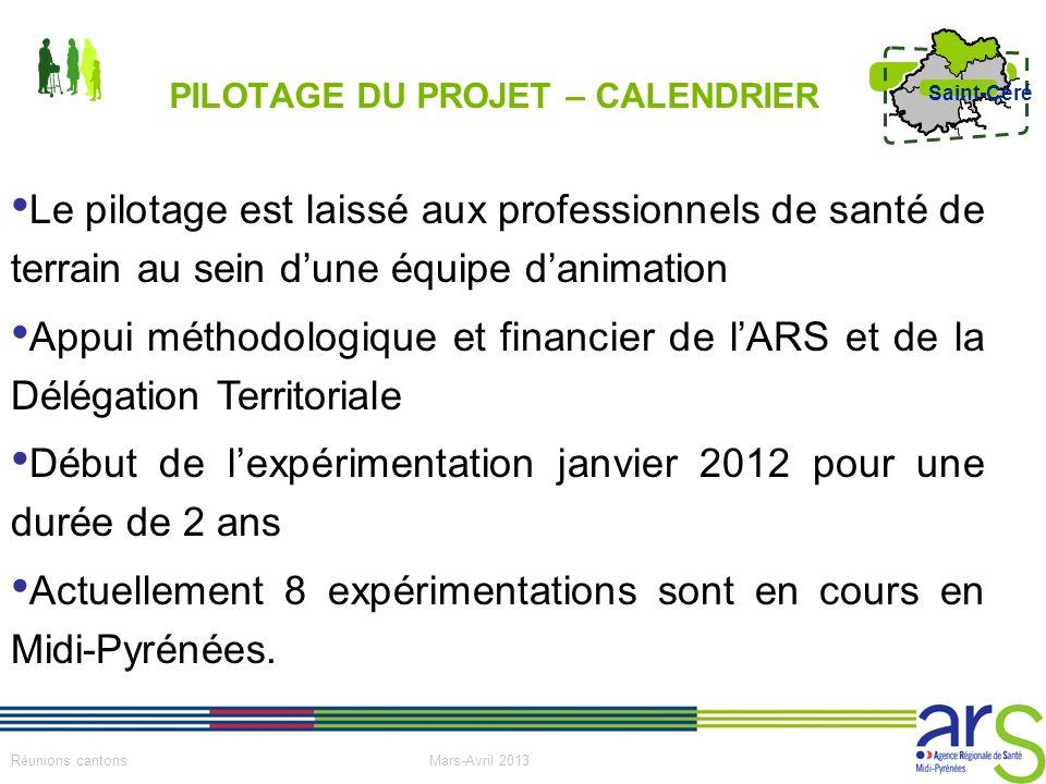 3 Réunions cantons Mars-Avril 2013 Saint-Céré PILOTAGE DU PROJET – CALENDRIER Le pilotage est laissé aux professionnels de santé de terrain au sein du