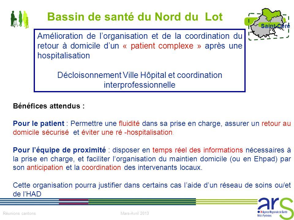 4 Réunions cantons Mars-Avril 2013 Saint-Céré Bénéfices attendus : Pour le patient : Permettre une fluidité dans sa prise en charge, assurer un retour