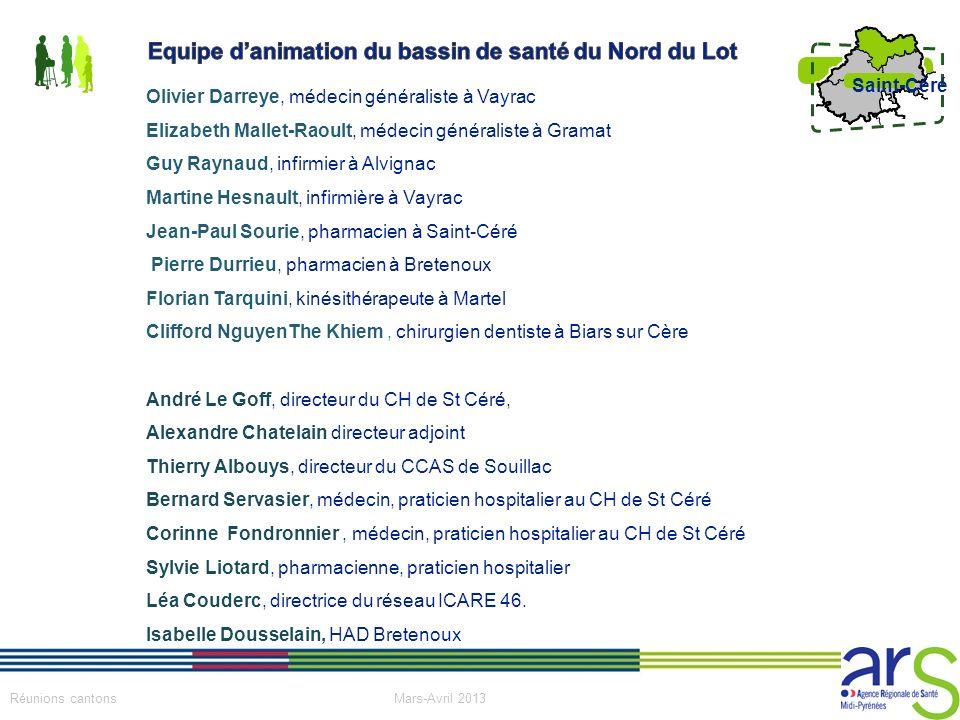 5 Réunions cantons Mars-Avril 2013 Saint-Céré Olivier Darreye, médecin généraliste à Vayrac Elizabeth Mallet-Raoult, médecin généraliste à Gramat Guy