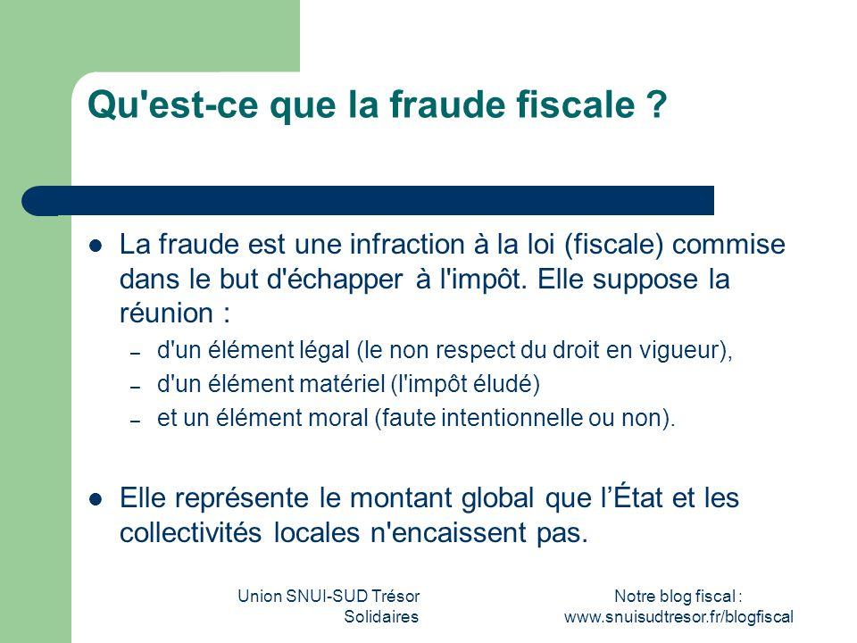 Union SNUI-SUD Trésor Solidaires Notre blog fiscal : www.snuisudtresor.fr/blogfiscal Qu'est-ce que la fraude fiscale ? La fraude est une infraction à