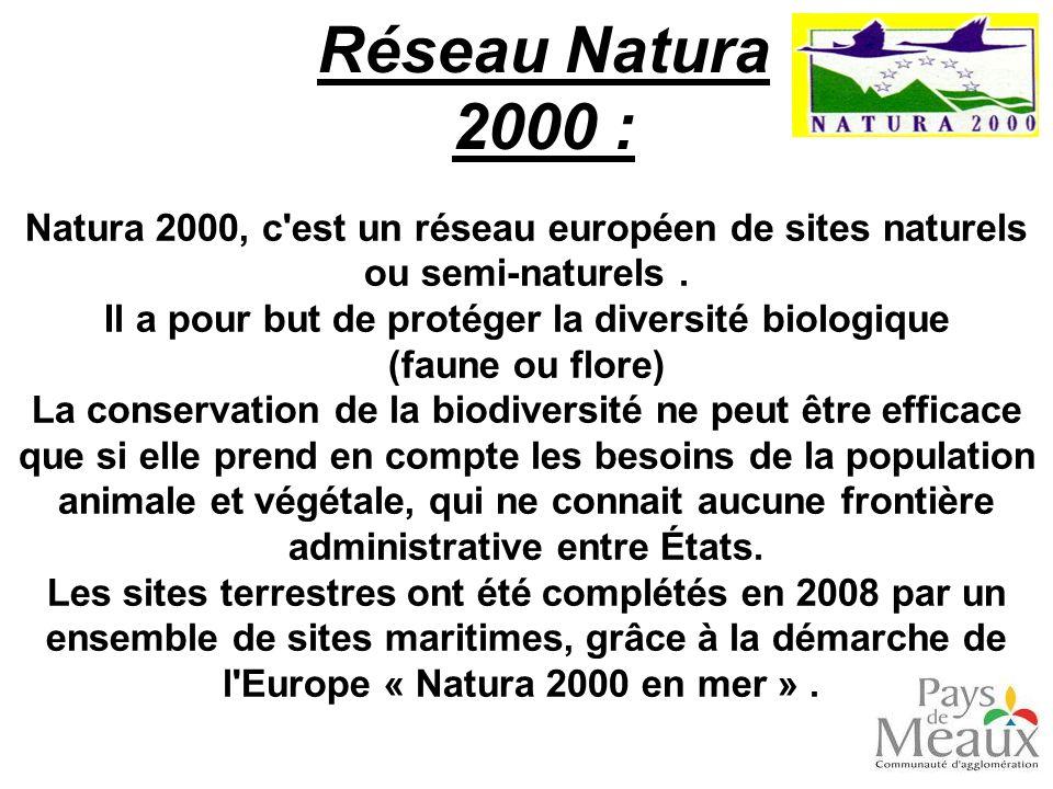 Réseau Natura 2000 : Natura 2000, c'est un réseau européen de sites naturels ou semi-naturels. Il a pour but de protéger la diversité biologique (faun