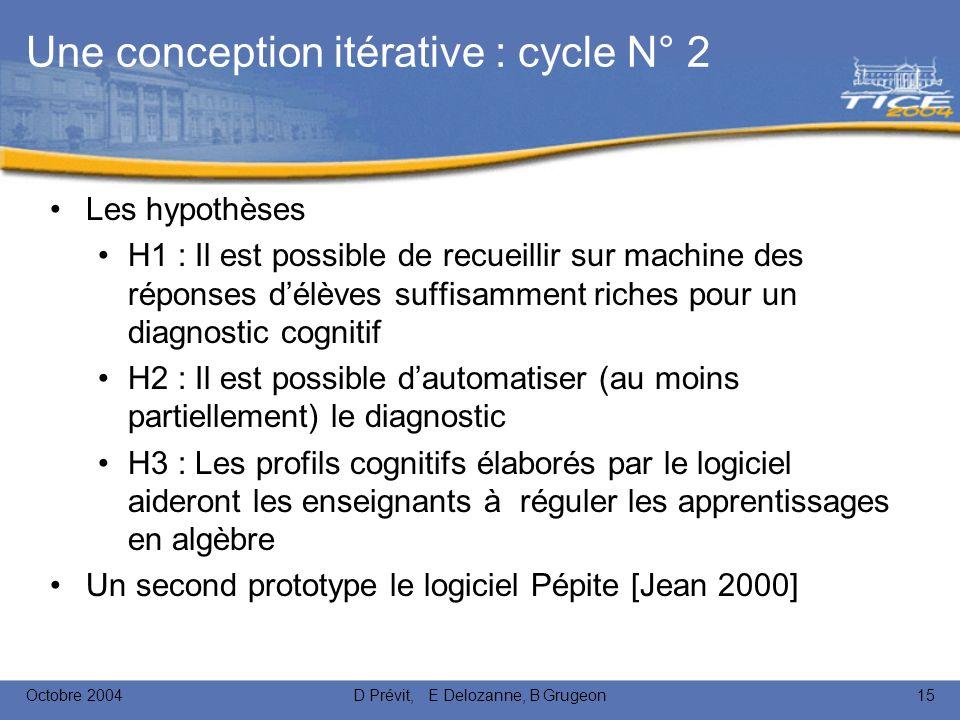 Octobre 2004D Prévit, E Delozanne, B Grugeon15 Une conception itérative : cycle N° 2 Les hypothèses H1 : Il est possible de recueillir sur machine des réponses délèves suffisamment riches pour un diagnostic cognitif H2 : Il est possible dautomatiser (au moins partiellement) le diagnostic H3 : Les profils cognitifs élaborés par le logiciel aideront les enseignants à réguler les apprentissages en algèbre Un second prototype le logiciel Pépite [Jean 2000]