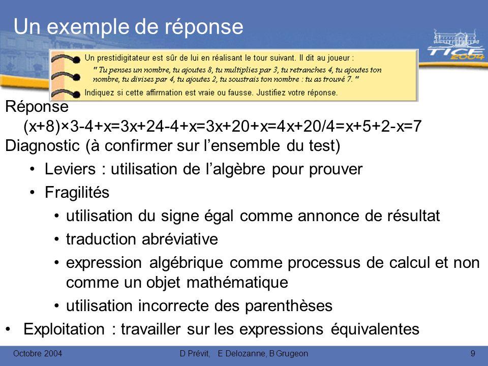 Octobre 2004D Prévit, E Delozanne, B Grugeon9 Un exemple de réponse Réponse (x+8)×3-4+x=3x+24-4+x=3x+20+x=4x+20/4=x+5+2-x=7 Diagnostic (à confirmer sur lensemble du test) Leviers : utilisation de lalgèbre pour prouver Fragilités utilisation du signe égal comme annonce de résultat traduction abréviative expression algébrique comme processus de calcul et non comme un objet mathématique utilisation incorrecte des parenthèses Exploitation : travailler sur les expressions équivalentes